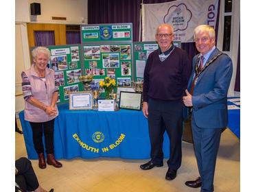 Joy Penberthy and David Macaulay with the Mayor of Exmouth