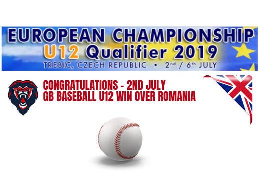 The National Baseball Team (GB Baseball) U12 win big over Romania