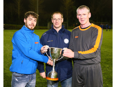 Tim Moriarty captain of Swinford B receives the Westaro Masters League 2 Trophy