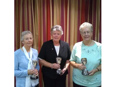 Jan Roberts; Janine Orchard and Jacky Howle with trophies for Ladies Triples