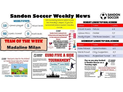  SANDON SOCCER - WEEKLY NEWS (14/02/20)
