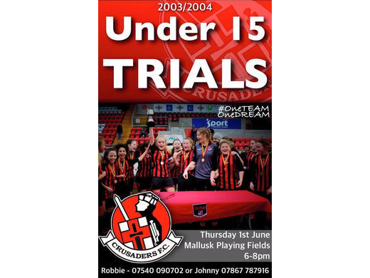 Crusaders Strikers U14/U15 Open Trials