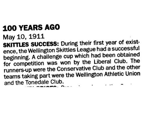 Cutting from the Wellington Weekly News