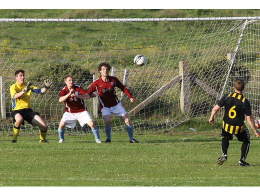 Andrew Cromarty fires over the bar from close range