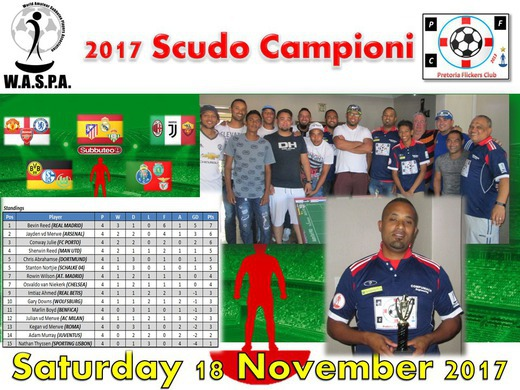 BEVIN REEDS WINS THE 2017 PFC SCUDO CAMPIONI