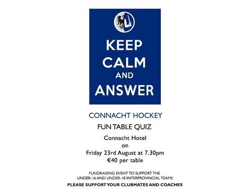 Connacht Hockey Table Quiz