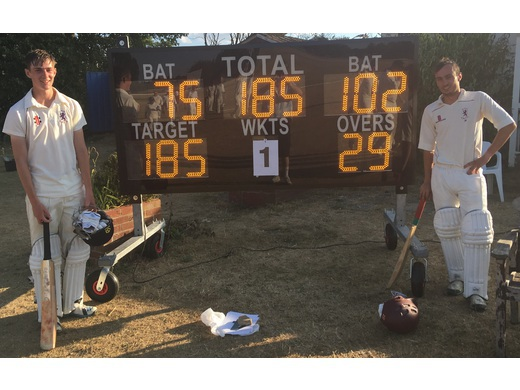 Sun 8 July: the KBCC Sunday team beat BBC Caversham with one 185 partnership