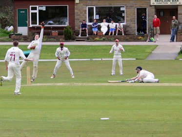 Benjamin Pearson diving in after a quick single from Pro Geeth Alwis.