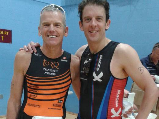 Ludlow Sprint Triathlon finish with Dave Mawhinney
