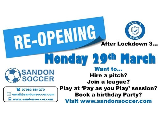 Reopening Mon 29th March 2021