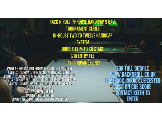 In-house 9 Ball Handicap Tournament Series Event 3