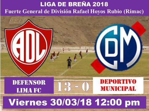 Defensor Lima FC 13 Deportivo Municipal 0
