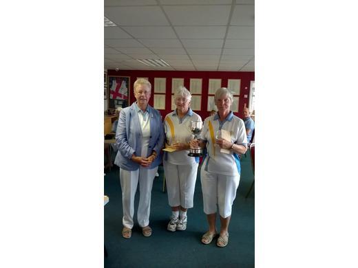 Jacky Howle with Jenny Charles & Sandie Cox - Ladies Pairs Tournament Winners