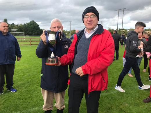 Hollister's Vinny Coen and Michael Lavin with the League Two Cup