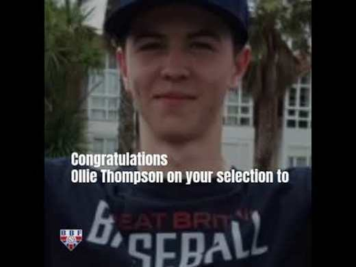 Ollie Thompson selected to MLB European Development Tournament - 25-27 June in the UK