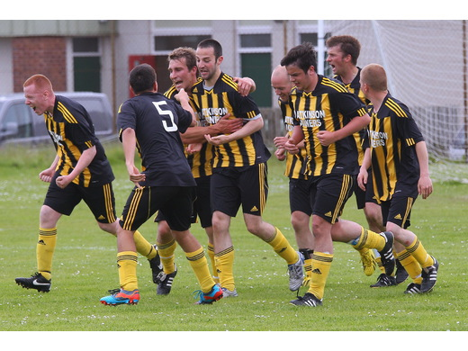 Birsay celebrate only goal of the match