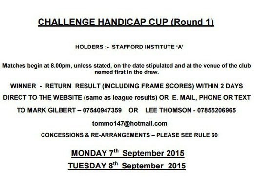CHALLENGE CUP 2015/16 ROUND 1 DRAW & RESULT SUBMISSION
