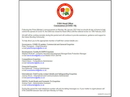 Coronavirus Update from EIBA