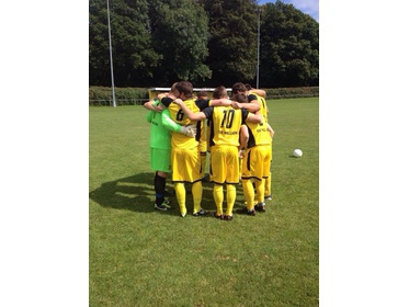 Taffs in their pre match huddle