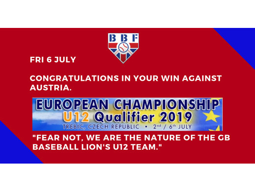 GB Baseball U12 win again vs Austria