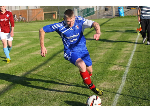 Dounby's Dale Slater in action against Stromness