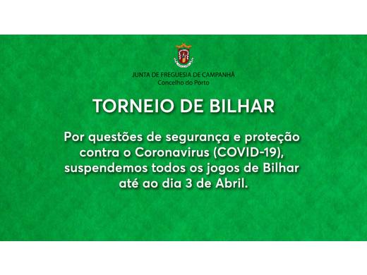 Campeonato de Bilhar Suspenso até 3 abril