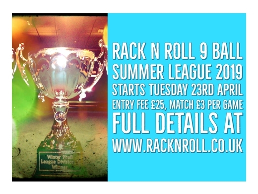 Summer 9 Ball Season Starts Tuesday 23rd April
