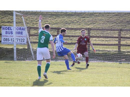 Brendan Lavelle about to score for Ballina Town