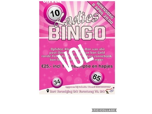 Ladies bingo van 8 april verschoven