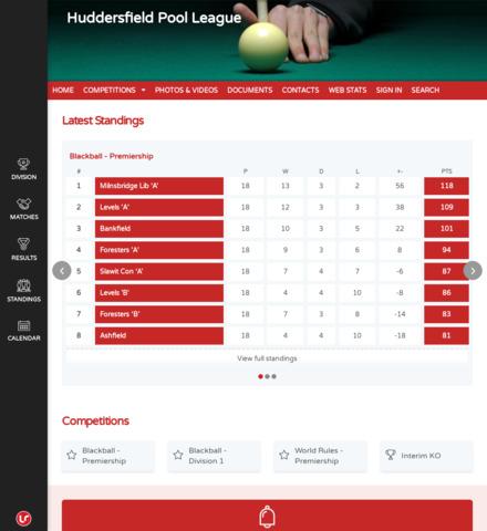 Huddersfield Pool League - screenshot