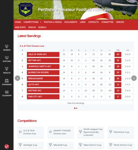 Perthshire Amateur  Football Assocation - screenshot