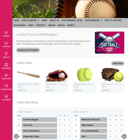 London Charity Softball League (LCSL) - screenshot
