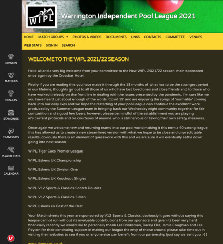 Warrington Independent Pool League 2021