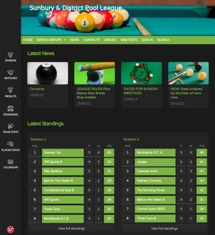 Sunbury & District Pool League - screenshot