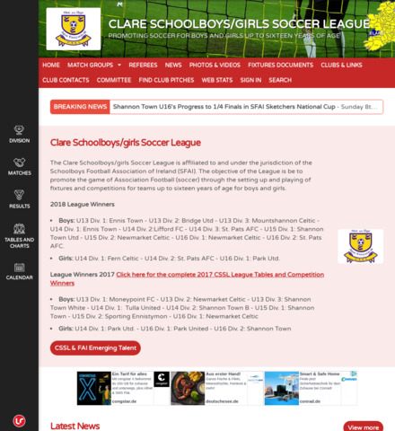 CLARE SCHOOLBOYS/GIRLS SOCCER LEAGUE - screenshot