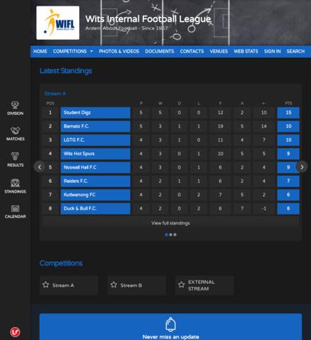 Wits Internal Football League - screenshot