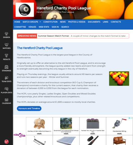 Hereford Charity Pool League - screenshot