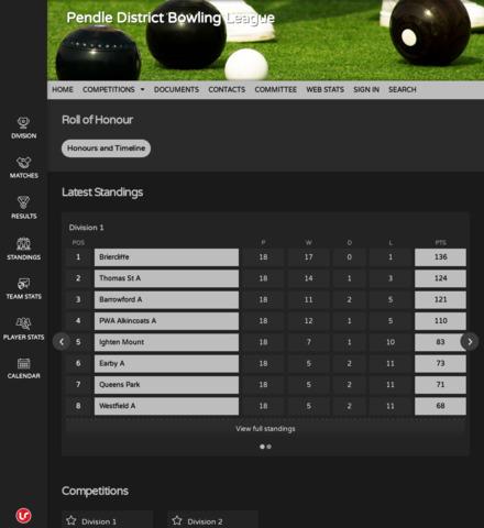 Pendle District Bowling League - screenshot