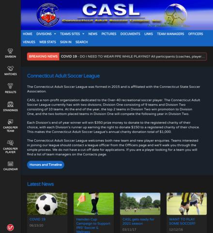 Connecticut Adult Soccer League - screenshot