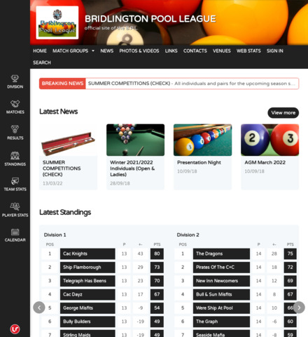 BRIDLINGTON POOL LEAGUE - screenshot