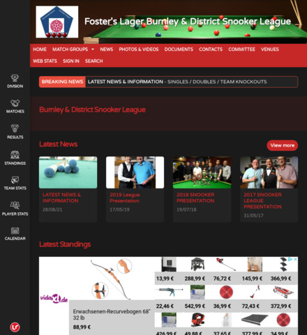 Rapid Recruit Burnley & District Snooker League - screenshot