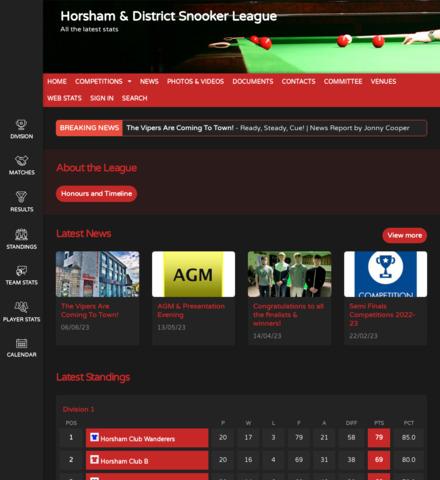 Horsham & District Snooker League - screenshot