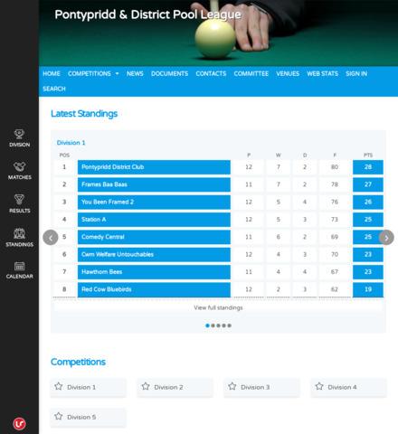 Pontypridd & District Pool League - screenshot