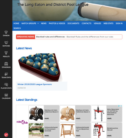 Long Eaton and District Pool League - screenshot