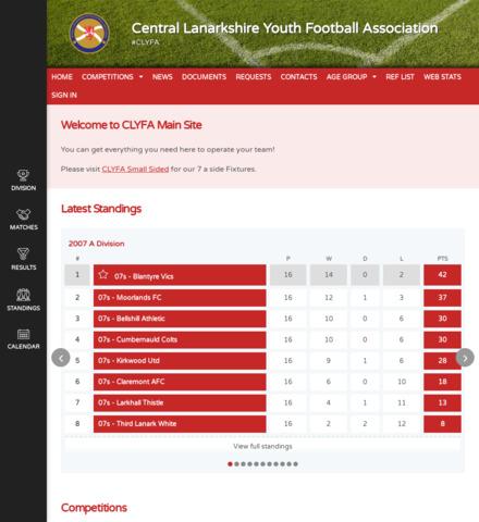 Central Lanarkshire Youth Football Association - screenshot