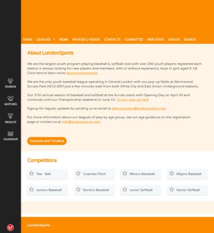 LondonSports - screenshot
