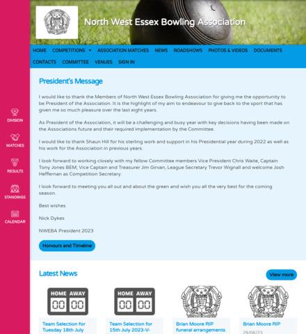 North West Essex Bowling Association - screenshot