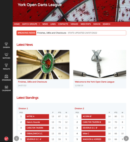 York Open Darts League - screenshot