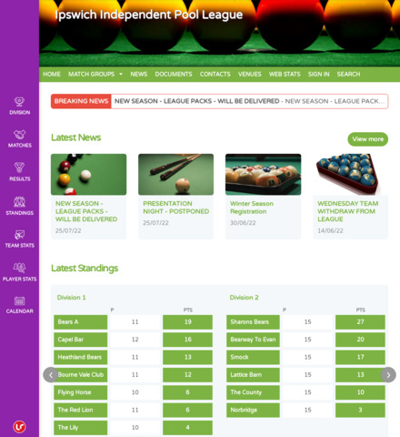 Ipswich Independent Pool League - screenshot