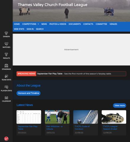Thames Valley Church Football League - screenshot